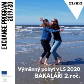 Výběrové řízení na výměnné pobyty v LS 2020 pro studenty 2. ročníků Bc. studia /13.-17. 9./