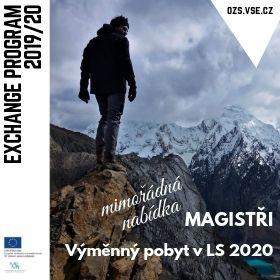 Mimořádné výběrové řízení pro magisterské studenty na výměnné pobyty v LS 2020 /9.-24. 7./